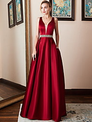 cheap -A-Line V Neck Maxi Satin Bridesmaid Dress with Beading by LAN TING Express