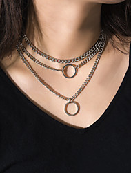 cheap -Women's Pendant Necklace Necklace Layered Necklace Casual / Sporty Copper Gold Silver 30 cm Necklace Jewelry 1pc For Daily
