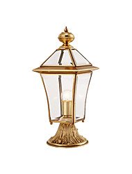 cheap -Waterproof Coloum Lamp Antique Copper Pillar Light Lantern for Gardern Courtyard Glass Lampshade Exterior Wall Light Fixtures