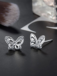 cheap -Women's Stud Earrings Classic Butterfly Stylish Simple European Trendy Elegant S925 Sterling Silver Earrings Jewelry Silver For Gift Daily Holiday Work Festival 1 Pair