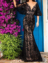 cheap -Mermaid / Trumpet Plunging Neck Sweep / Brush Train Lace Elegant Formal Evening Dress 2020 with Beading / Appliques