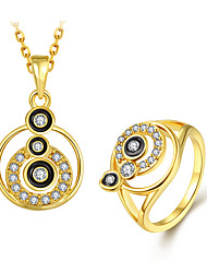 cheap -Women's Pendant Necklace Ring Classic Stylish Unique Design Gold Plated Earrings Jewelry Gold For Daily Work 1 set