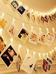 Недорогие -Brelong водонепроницаемые светодиодные струны 3м 30 светодиодные зажимы с питанием от батарей фея мерцание свадьба рождественский декор дома огни для висящих фотографий карты произведения искусства