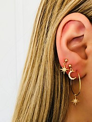 cheap -Women's Ear Piercing Stud Earrings Drop Earrings Vintage Style Moon Star Vintage Bohemian Ethnic Fashion Gold Plated Earrings Jewelry Gold For Carnival Prom Holiday Club Bar 4pcs / Hoop Earrings