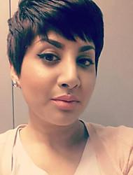 cheap -Human Hair Blend Wig Short Straight Natural Straight Bob Pixie Cut Layered Haircut Asymmetrical Black Cool Comfortable Natural Hairline Capless Women's All Natural Black 8 inch / African American Wig