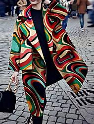 abordables -Femme Quotidien Longue Manteau, Géométrique Revers Cranté Manches Longues Polyester Arc-en-ciel