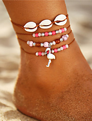 cheap -Ankle Bracelet Bohemian Vintage Fashion Women's Body Jewelry For Gift Daily Beads Rhinestone Silver Plated Alloy Flamingo Shell Pink 3pcs