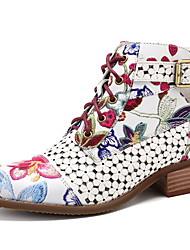 Недорогие -Жен. Ботинки На толстом каблуке Заостренный носок Полиуретан Ботинки Лето Черный / Красный