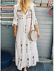 cheap -Women's Boho Shift Dress - Geometric Print Light Blue White Yellow S M L XL