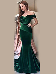 cheap -Women's Velvet Maxi Wine Green Dress Elegant Trumpet / Mermaid Solid Colored Off Shoulder S M
