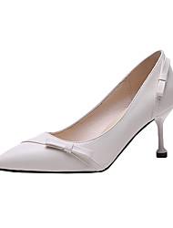 cheap -Women's Heels Kitten Heel Bowknot PU Casual Summer Black / Beige / Daily