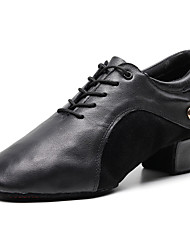 cheap -Men's Dance Shoes Nappa Leather Jazz Shoes Oxford / Sneaker Thick Heel Customizable Black / Performance / Practice