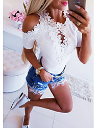 cheap -Women's Casual Basic T-shirt - Solid Colored Lace White