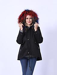 Недорогие -куртка обычная для женщин осень / зима, однотонная / камуфляжная / камуфляжная, с капюшоном, с длинным рукавом, с отделкой из нейлона, черный / белый / радуга / свободная