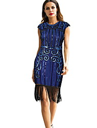 cheap -Diva Disco 1980s Fringed Dress Dress Women's Sequins Tassel Costume Black / Blue / Gray Vintage Cosplay Prom Sleeveless Above Knee Sheath / Column