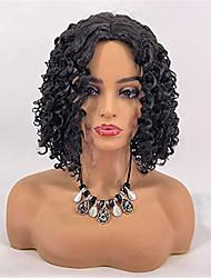 Недорогие -человеческие волосы Remy Лента спереди Парик Боковая часть стиль Бразильские волосы Глубокий курчавый Черный Парик 130% Плотность волос Жен. Короткие Парики из натуральных волос на кружевной основе