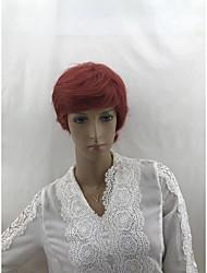 cheap -Human Hair Wig Short Wavy Body Wave Bob Asymmetrical Silver Burgundy Odor Free Women Sexy Lady Capless Burmese Hair All Unisex Dark Auburn Strawberry Blonde / Light Blonde