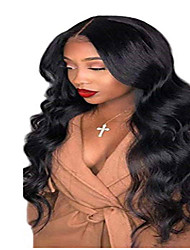 cheap -Remy Human Hair Lace Front Wig Middle Part style Brazilian Hair Body Wave Black Wig 150% Density Women's Medium Length Human Hair Lace Wig beikashang