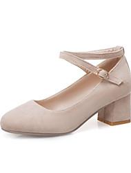 cheap -Women's Heels Chunky Heel Round Toe Suede Casual / Sweet Spring &  Fall Black / Pink / Beige