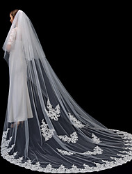 cheap -Two-tier Lace Applique Edge / Elegant & Luxurious Wedding Veil Cathedral Veils with Appliques 118.11 in (300cm) Lace / Tulle / Oval