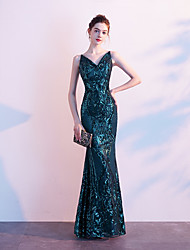 cheap -Mermaid / Trumpet V Neck Floor Length Sequined Elegant Formal Evening Dress 2020 with Sequin