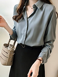 cheap -Women's Solid Colored Shirt Daily Shirt Collar White / Black / Blue / Beige