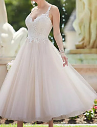 cheap -A-Line Wedding Dresses V Neck Ankle Length Lace Tulle Spaghetti Strap Vintage Backless with Appliques 2020