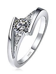 cheap -Women's Ring 1pc Silver Imitation Diamond Alloy Round Simple Korean Fashion Daily School Jewelry Classic