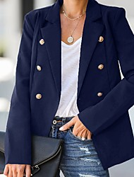 cheap -Women's Blazer, Solid Colored Notch Lapel Polyester Black / Light Blue / White