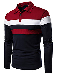 cheap -Men's Casual Casual / Daily Basic Polo - Color Block Black & Red, Patchwork Red