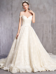 cheap -Ball Gown Off Shoulder Cathedral Train Tulle Short Sleeve Sexy Wedding Dresses with Beading / Embroidery 2020