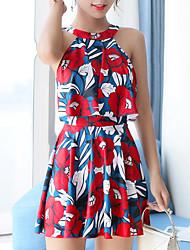 abordables -Femme Robes de Natation Elasthanne Maillots de Bain Respirable Séchage rapide Sans Manches 2 Pièces - Natation Surf Sports aquatiques Peinture Floral / Botanique Automne Printemps Eté
