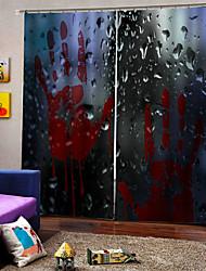 Недорогие -Творческий затемнение пользовательских оконных штор без перфорации красный отпечаток руки 3d цифровая печать для гостиной / спальни студия ткани занавес