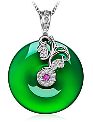cheap -Women's Green Onyx Pendant Necklace Classic Butterfly Fashion S925 Sterling Silver Light Green 45+3.5 cm Necklace Jewelry 1pc For Gift Daily