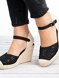cheap -Women's Sandals Wedge Heel Round Toe Buckle Suede / Mesh Casual / Minimalism Spring &  Fall / Spring & Summer Black / White / Color Block