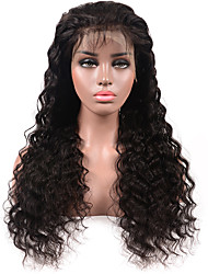 cheap -Remy Human Hair Lace Front Wig Middle Part style Brazilian Hair Deep Wave Black Wig 130% Density Women's Medium Length Human Hair Lace Wig beikashang