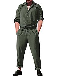 cheap -Men's EU / US Size Basic Black Beige Jumpsuit Onesie, Solid Colored US38 / UK38 / EU46 US40 / UK40 / EU48 US42 / UK42 / EU50