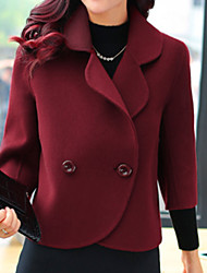 cheap -Women's Daily Fall & Winter Regular Jacket, Solid Colored Rolled collar Long Sleeve Polyester Beige / Wine