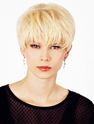 cheap -Human Hair Wig Short Straight Natural Straight Bob Pixie Cut Layered Haircut Asymmetrical Blonde Life Easy dressing Comfortable Capless Women's All Strawberry Blonde / Light Blonde 8 inch