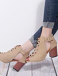 cheap -Women's Heels Fall / Spring & Summer Chunky Heel Peep Toe Daily Microfiber / PU Black / Beige / 2-3