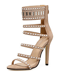 cheap -Women's Sandals Stiletto Heel Beading Synthetics Sweet / Minimalism Spring &  Fall / Summer Black / Beige / Wedding / Party & Evening