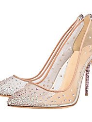 cheap -Women's Heels Stiletto Heel Pointed Toe Rhinestone Mesh Spring & Summer Nude / Party & Evening