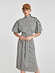 cheap -Women's Vintage Chinoiserie Shirt Dress - Color Block Check Patchwork Print Black S M L XL
