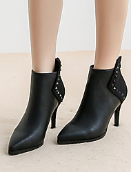 cheap -Women's Boots Stiletto Heel Pointed Toe Classic Vintage Sweet Daily Office & Career Solid Colored Faux Leather Booties / Ankle Boots Black / Burgundy