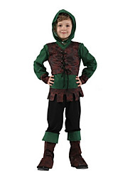 cheap -Robin Hood Cosplay Costume Masquerade Kid's Boys' Cosplay Halloween Party Halloween Festival Halloween Carnival Masquerade Festival / Holiday Polyster Green Carnival Costumes Solid Colored