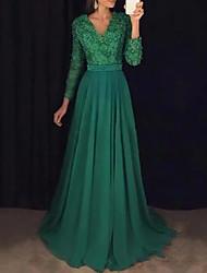 cheap -A-Line Elegant Formal Evening Dress V Neck Long Sleeve Sweep / Brush Train Chiffon Lace with Sash / Ribbon Beading Appliques 2021