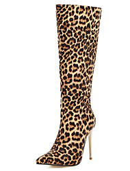 cheap -Women's Boots Knee High Boots Stiletto Heel Pointed Toe PU Knee High Boots Classic / British Fall & Winter Black / Black / White / Leopard