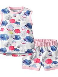 cheap -Baby Girls' Basic Print Sleeveless Regular Clothing Set Blushing Pink