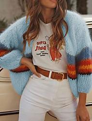 cheap -Women's Color Block Long Sleeve Cardigan Sweater Jumper, Collarless Blushing Pink / Blue / Beige S / M / L