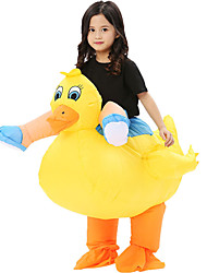 cheap -Duck Cosplay Costume Inflatable Costume Kid's Boys' Halloween Halloween Festival / Holiday 100% Polyester Yellow Carnival Costumes / Air Blower / Leotard / Onesie / Leotard / Onesie / Air Blower
